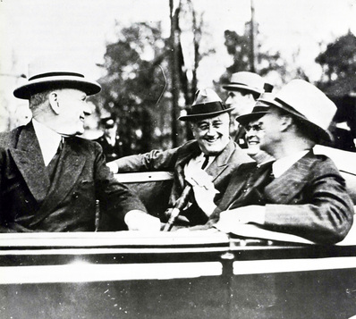 Alabama Heritage Senator Lister Hill (right), a staunch New Dealer, with (backseat, left to right) President Franklin D. Roosevelt and Alabama Governor Frank Dixon at the Tuskegee Institute, 1940. (Photo courtesy W.S. Hoole Special Collections, University of Alabama)