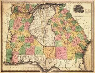 1823 Map of Creek and Cherokee Land in GA and AL